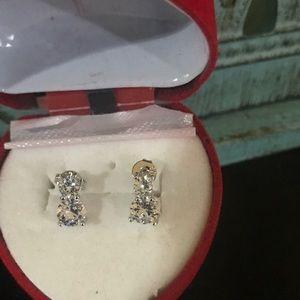 Sterling silver crystal/ rhinestone earrings